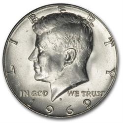 1969 D Half Dollar Silver Half Dollar Kennedy Half Dollar