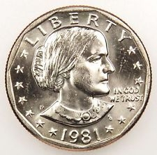 1981 P Dollar Coin Susan B Anthony Dollar 1981 Silver