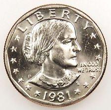 1981 P Dollar Coin Susan B Anthony Dollar 1981 Silver